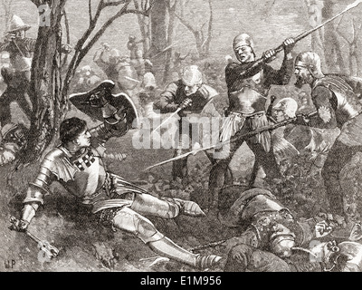The Battle of Barnet, England in 1471, the death of Warwick the Kingmaker. - Stock Photo