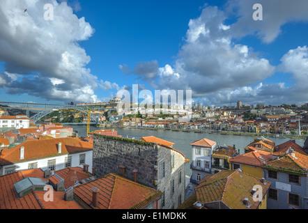 Panorama of Porto and Vila Nova de Gaia, Portugal - Stock Photo