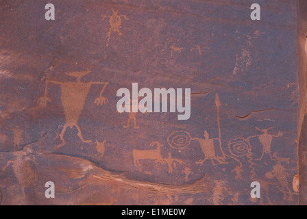 USA, Utah, near Moab, Potash Road, Anasazi Petroglyphs, dating from AD 500 - Stock Photo