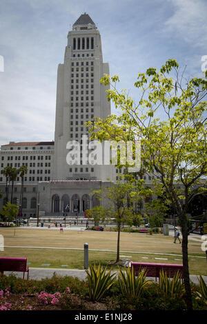 Los Angeles, California, USA. 1st May, 2014. Los Angeles City Hall, designed by Austin, Parkinson & Martin, has - Stock Photo