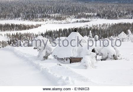 Heavy snow on a fell - Stock Photo