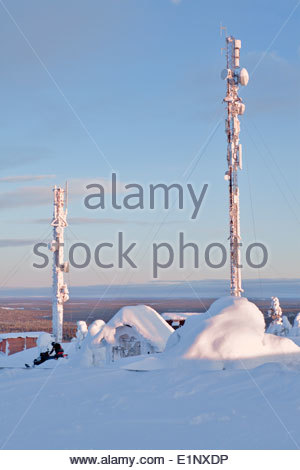 Masts on a fell in Salla - Stock Photo