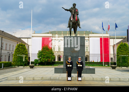 Statue of Prince Jozef Poniatowski and Presidential Palace in Warsaw, Poland. - Stock Photo