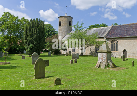 Exterior view of St Mary's Church, Syderstone, Norfolk; one of the distinctive round tower churches in the county - Stock Photo