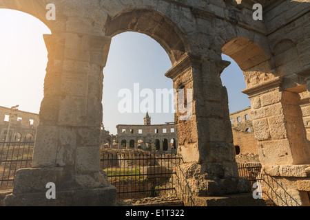 Ancient Roman Amphitheater in Pula, Croatia - Stock Photo