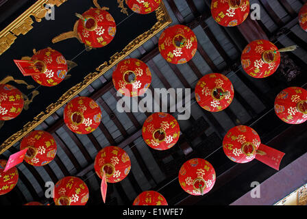 Lanterns in a buddhist temple in traditional Chinese town of Zhouzhuang near Shanghai - Stock Photo