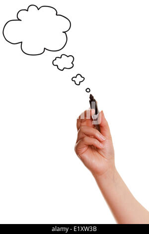 Female hand drawing bubble speech - Stock Photo