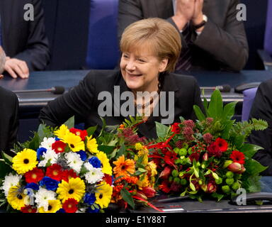 Dr. Angela Merkel takes her oath after having been elected as chancellor in the Bundestag on the 17th of December - Stock Photo