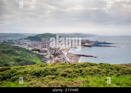 A view from the top of Constitution hill overlooking the coastal resort of Aberystwyth with sandy beach and Cardigan - Stock Photo
