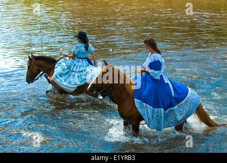 Participants in the annual festival 'Patria Gaucha' in Tacuarembo, Uruguay. - Stock Photo