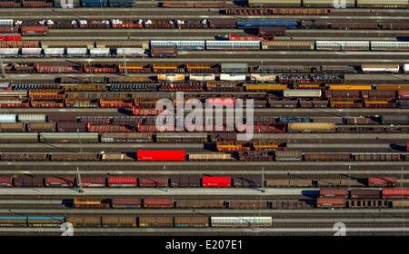 Aerial view, Hagen-Vorhalle station, marshalling yard, Vorhalle, Hagen, North Rhine-Westphalia, Germany - Stock Photo