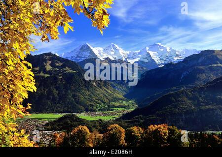 Lauterbrunnen valley with Eiger, Mönch, Jungfrau, in front Interlaken and Wilderswil, Canton of Bern, Switzerland - Stock Photo