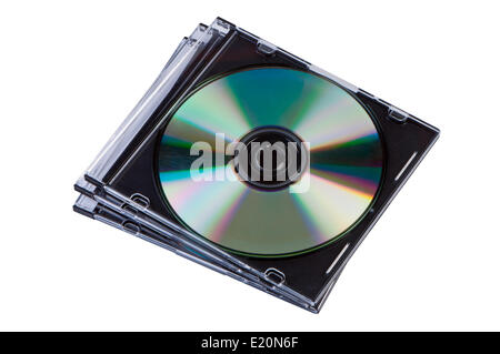 Stack of CD discs in a box isolated. - Stock Photo