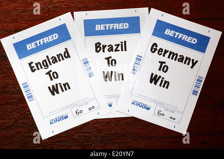 CHIPPENHAM, UK, 12th June, 2014. Betting slips from the bookmaker Betfred are photographed on the day that the 2014 - Stock Photo