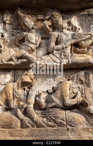 Details at a gallery in the ancient Borobudur Buddhist temple near Yogyakarta, Indonesia - Stock Photo
