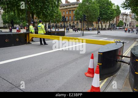 Police Road Barrier Whitehall Westminster London UK - Stock Photo