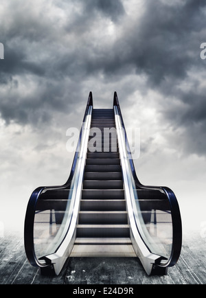 Escalators, conceptual image. Moving stairway to heaven. Easy opportunity to success. - Stock Photo