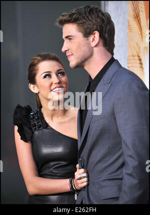 Miley Cyrus and Liam Hemsworth Los Angeles Premiere of 'The Last Song' held at the ArcLight Hollywood Cinema Hollywood, - Stock Photo