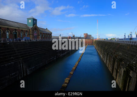United Kingdom, Northern Ireland, Belfast, Queen's Island, Thompson Dry Dock, Olympic and Titanic Slipways, and - Stock Photo