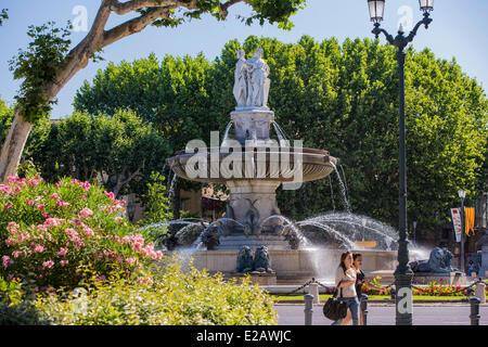 France, Bouches du Rhone, Aix en Provence, the Rotonde fountain - Stock Photo