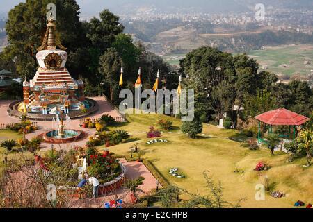 Nepal, Kathmandu Valley, listed as World Heritage by UNESCO, Kathmandu, Kopan monastery garden - Stock Photo