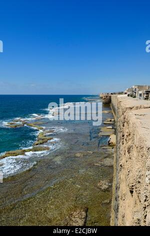 Israel, North district, Galilee, Acre (Akko), old town, listed as World Heritage by UNESCO, western sea wall - Stock Photo