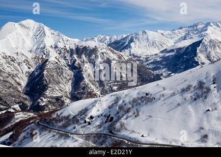 France Hautes Pyrenees view from the road to the ski resort of Luz Ardiden - Stock Photo