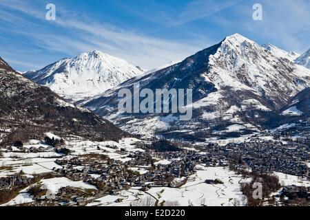 France Hautes Pyrenees view from the road to the ski resort of Luz Ardiden Luz Saint Sauveur village - Stock Photo