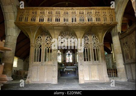 France Cotes d'Armor jube of the Loc Envel church - Stock Photo