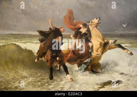France, Finistere, Quimper, musee des Beaux Arts, The Escape of King Gradlon (1884) by the painter Evariste Vital - Stock Photo