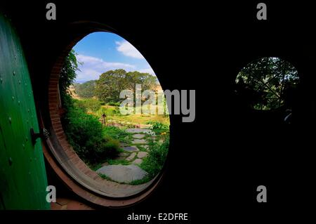 New Zealand North island Matamata Hobbiton the hobbit village built for the movie Lord of the Rings by Peter Jackson - Stock Photo