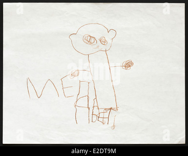 Original child's drawing of a brown bear drawn by a five-year-old girl. Inscription in Russian: The Bear. - Stock Photo