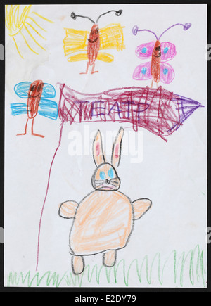 Original child's drawing of a rabbit and three butterflies drawn by a five-year-old girl. Inscription on the banner: - Stock Photo