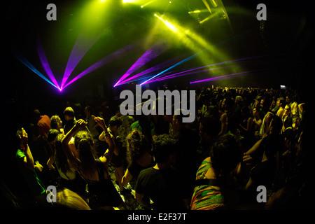 People dancing at Sonar night, during Sonar music festival in Barcelona, Spain - Stock Photo