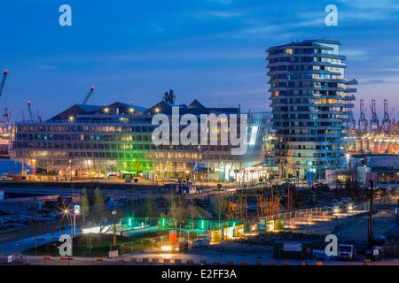 Germany Hamburg HafenCity which develops the most important project of European urban planning Unilever Haus (2009) - Stock Photo