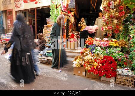 Egypt Upper Egypt Luxor street scene in city center - Stock Photo