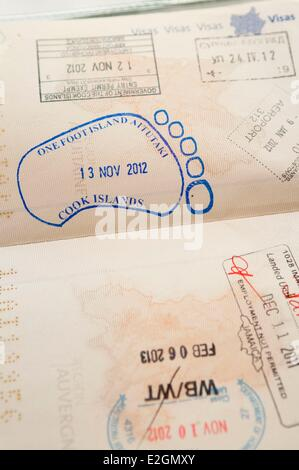 Cook Islands Aitutaki Island stamp of One Foot Island atoll also called Tapuaetai on a passport - Stock Photo