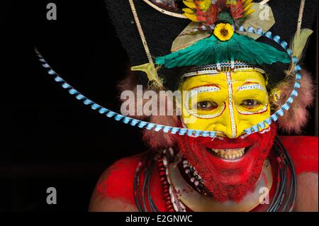 Papua New Guinea Hela Province region of Tari village of Kobe Dumbiali Tiawe dress in traditional Huli tribe - Stock Photo