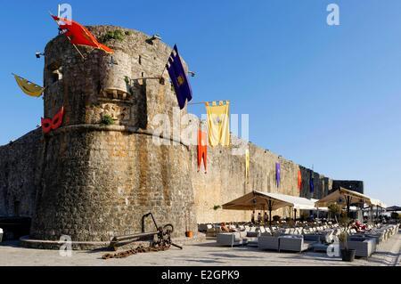 Montenegro Adriatic coast old town of Budva city walls - Stock Photo