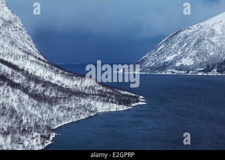Norway Troms Senja island Skaland fjord in winter - Stock Photo