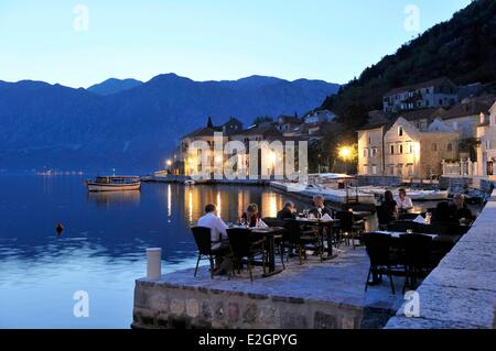 Montenegro Adriatic coast Kotor bay Perast village - Stock Photo
