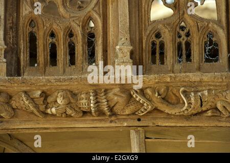 France Cote d'Armor Loc Envel inside church jube - Stock Photo