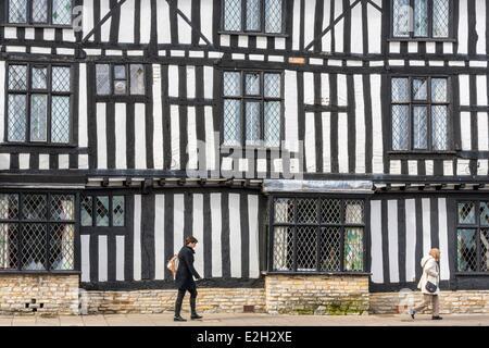 United Kingdom Warwickshire Stratford-upon-Avon Chapel Street half-timbered house of 16th century - Stock Photo