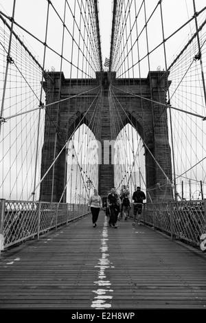 Brooklyn bridge in new york - USA - Stock Photo