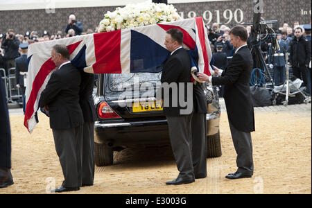 The Funeral of Margaret Thatcher - general views of the funeral procession  Featuring: Baroness Thatcher's Funarel - Stock Photo