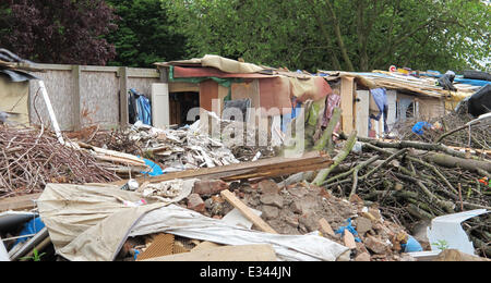 Up to 40 squatters are living in the demolished Hendon Football Club ground, which has laid empty in Brent Cross, - Stock Photo
