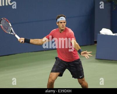 Juan Martin Del Potro defeats Guillermo-Garcia-Lopez at the US OPEN Tennis Challenge  Featuring: Juan Martin Del - Stock Photo