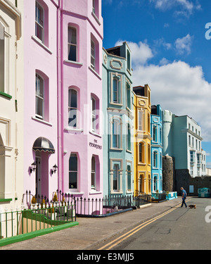 The colourful pastel seaside buildings of Tenby. - Stock Photo