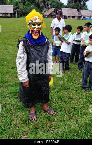 Mithology mask - Independence Day Festival in Industria - PANGUANA . Department of Loreto. PERU - Stock Photo