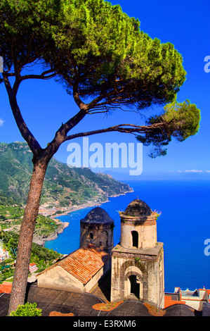 Famous view from a villa in Ravello, Amalfi Coast, Italy - Stock Photo